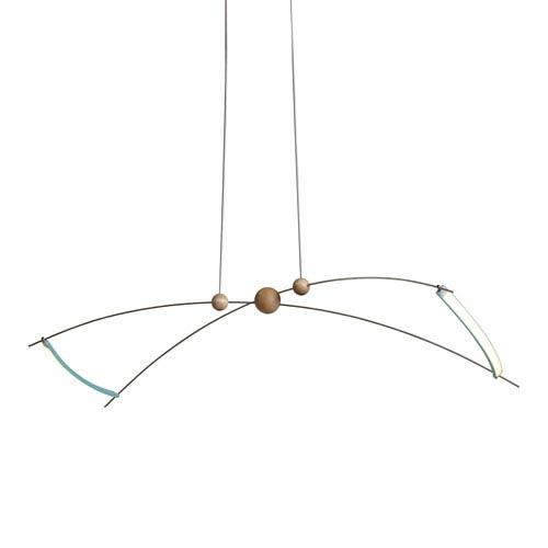 Copernicus Satin Aqua LED Island Pendant with Wood Accent