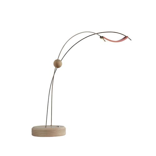 Copernicus Satin Red LED Table Lamp with Wood Accent