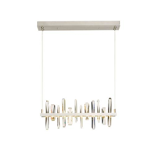 Solitude Vintage Platinum LED Pendant with Crystal Accent