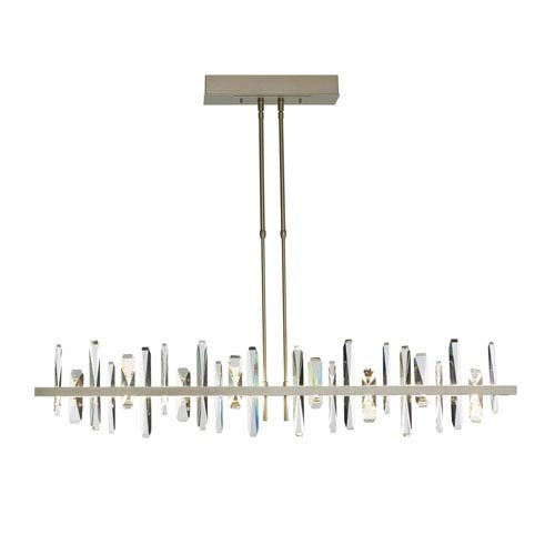 Solitude Soft Gold LED Long Large Pendant with Crystal Accent