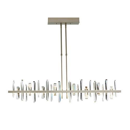Solitude Vintage Platinum LED Short Large Pendant with Crystal Accent