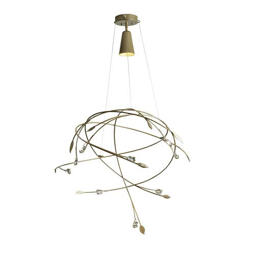 Gaia Soft Gold One-Light Pendant with Crystal Accent