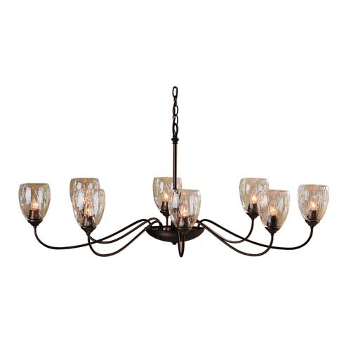 Mahogany Eight-Light 28-Inch Chandelier with Water Glass