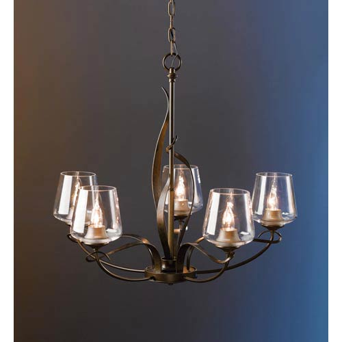 Flora Bronze Five-Light Chandelier with Clear Glass