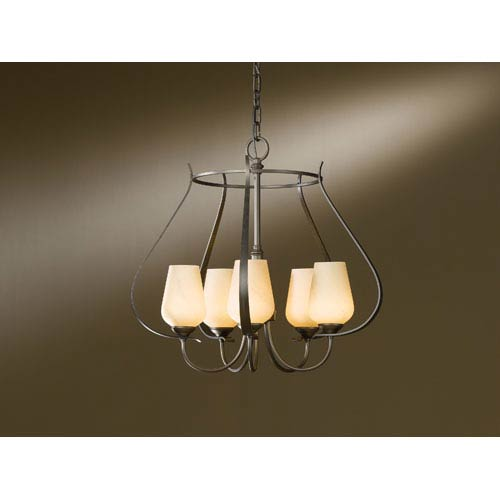 Flora Dark Smoke Five Light Chandelier with Stone Glass