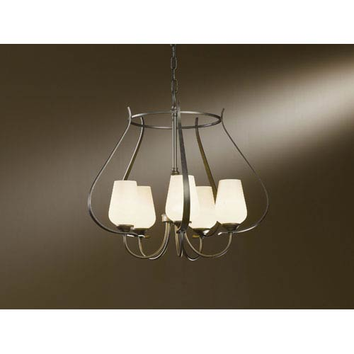 Hubbardton Forge Flora Dark Smoke Five Light Chandelier with Pearl Glass