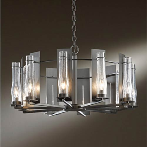 New Town Bronze 10-Light Large Chandelier with Seeded Clear Glass