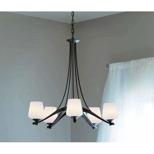 Ribbon Dark Smoke Five-Light Chandelier with Smooth Opal Glass