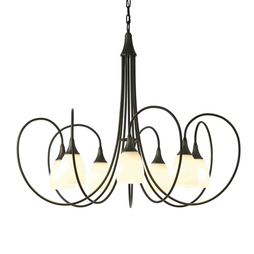 Picoh Dark Smoke Seven-Light 37-Inch Chandelier with Opal Glass