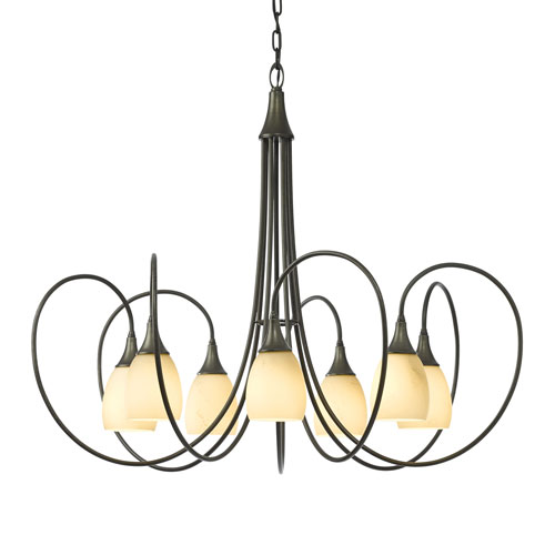 Picoh Dark Smoke Seven-Light 37-Inch Chandelier with Stone Glass