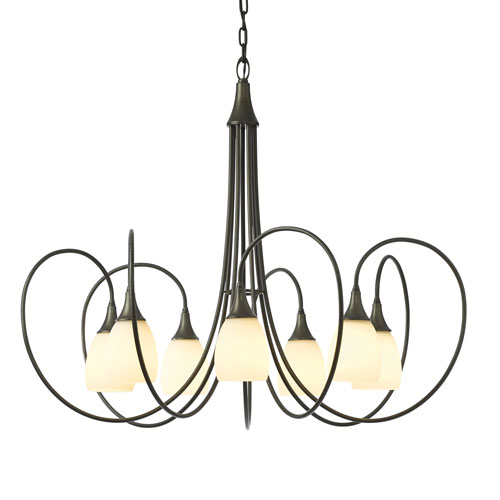 Picoh Dark Smoke Seven-Light 37-Inch Chandelier with Pearl Glass