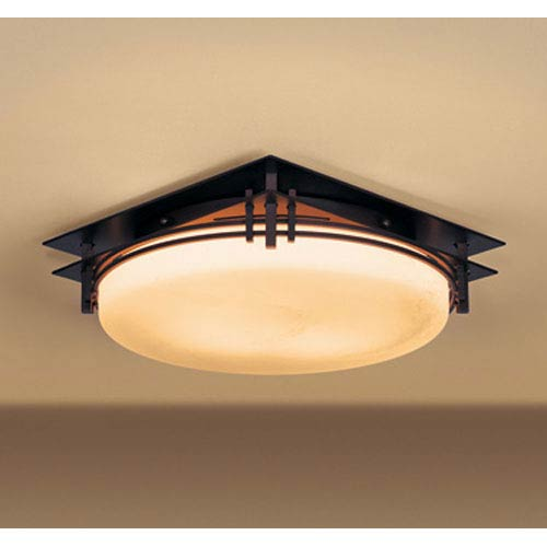 Banded Mahogany Two Light Semi-Flush with Stone Glass