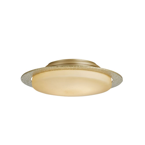 Hubbardton Forge Oceanus Soft Gold Two-Light 17-Inch Semi-Flush with Stone Glass