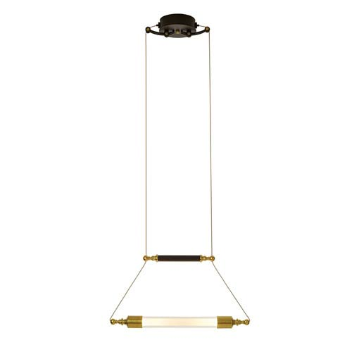 Otto Brass with Black Two-Light 19-Inch Pendant with Clear with frost Glass