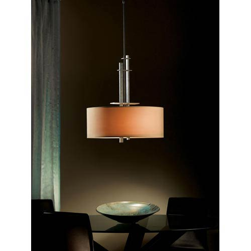 Hubbardton Forge Ondrian Dark Smoke Two-Light Pendant with Doeskin Micro-Suede Drum Shade