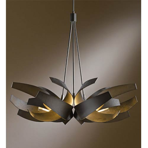 Corona Dark Smoke Six-Light Pendant with Clear with Frost Glass