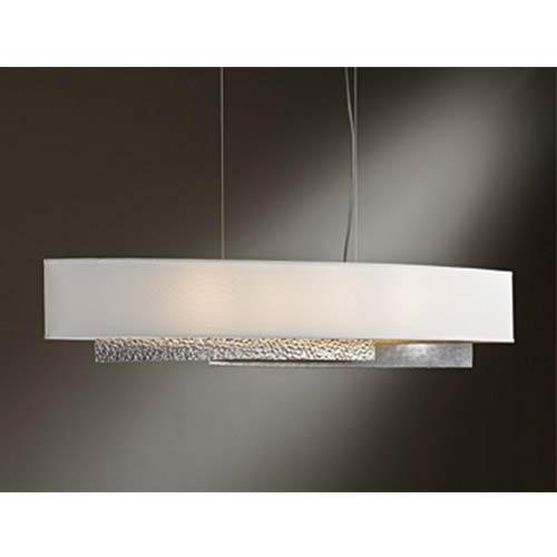 Oceanus Vintage Platinum Four-Light Linear Pendant with Natural Anna Shade