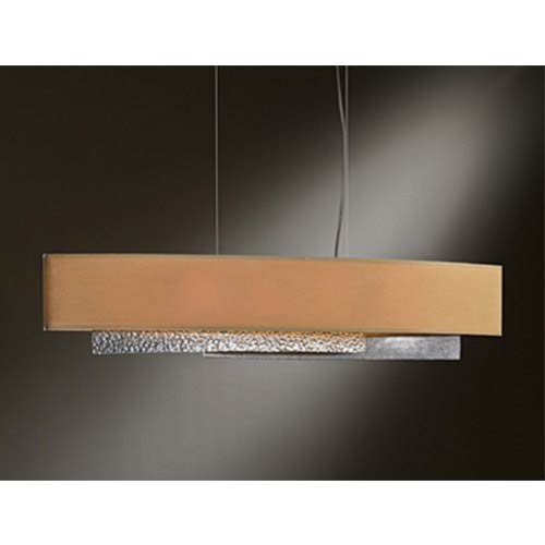 Oceanus Vintage Platinum Four-Light Linear Pendant with Doeskin Suede Shade