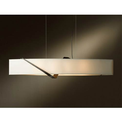 Hubbardton Forge Stream Bronze Four-Light Linear Pendant with Natural Anna Shade