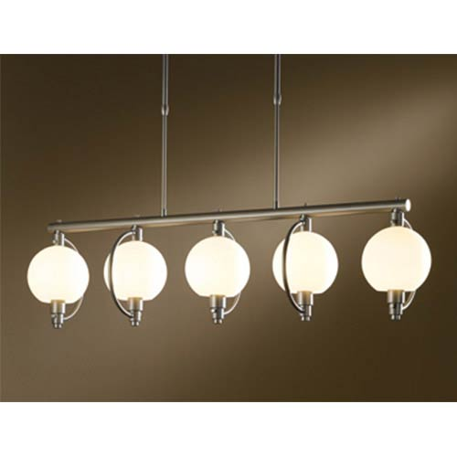 Hubbardton Forge Pluto Burnished Steel Five-Light Linear Pendant with Opal Glass