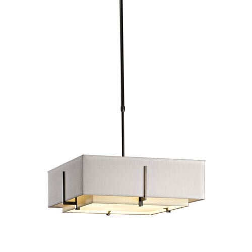 Hubbardton Forge Exos Dark Smoke 20.5-Inch Four-Light Pendant with Flax and Natural Anna Shade