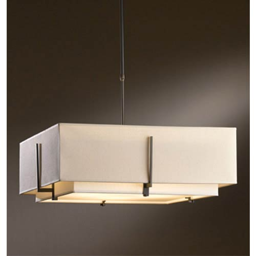 Hubbardton Forge Exos Dark Smoke Four Light Large Drum Pendant With Natural Anna And