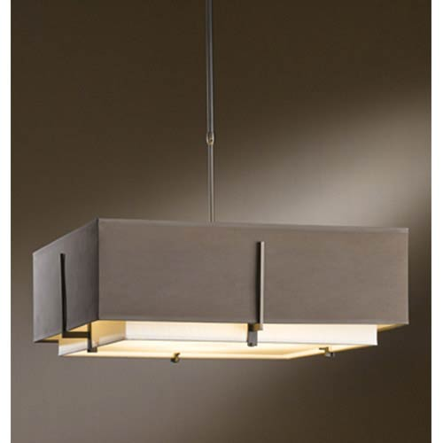 Hubbardton Forge Exos Dark Smoke Four Light Large Drum Pendant With Natural Anna And Eclipse