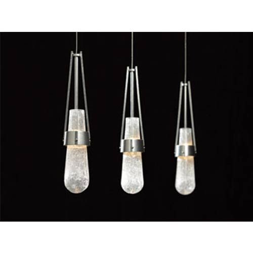 Link Vintage Platinum One-Light Pendant with Clear Bubble Glass