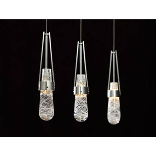 Link Vintage Platinum One-Light Pendant with Clear White Threading Glass