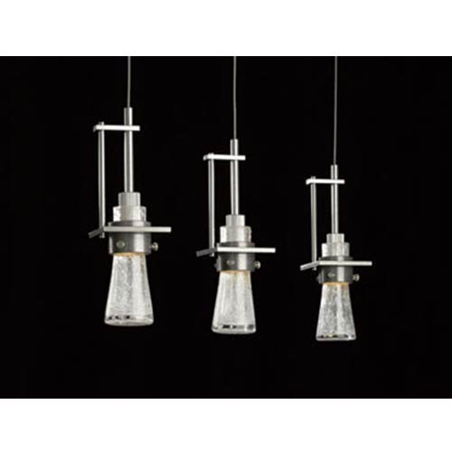 Hubbardton Forge Erlenmeyer Vintage Platinum One-Light Pendant with Clear Bubble Glass