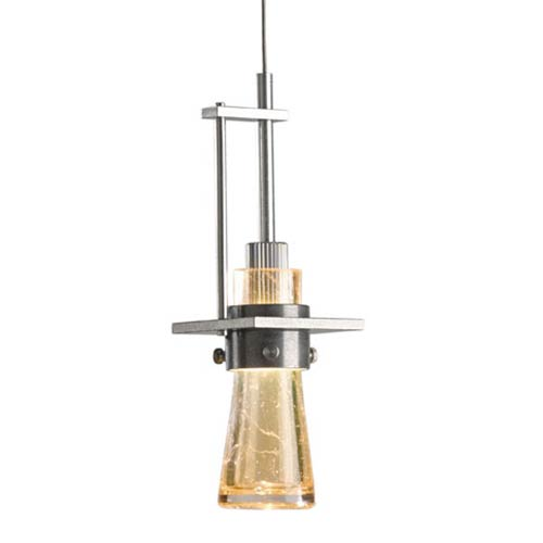 Erlenmeyer Vintage Platinum One-Light Pendant with Gold Bubble Glass