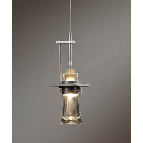Erlenmeyer Vintage Platinum One-Light Small Mini-Pendant with Clear Glass