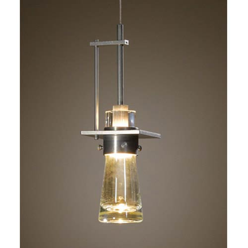 Erlenmeyer Vintage Platinum One-Light Large Mini-Pendant with Clear Glass