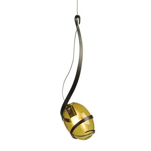 Hubbardton Forge Pinot Dark Smoke One-Light 6-Inch Mini Pendant with Green Tea Glass