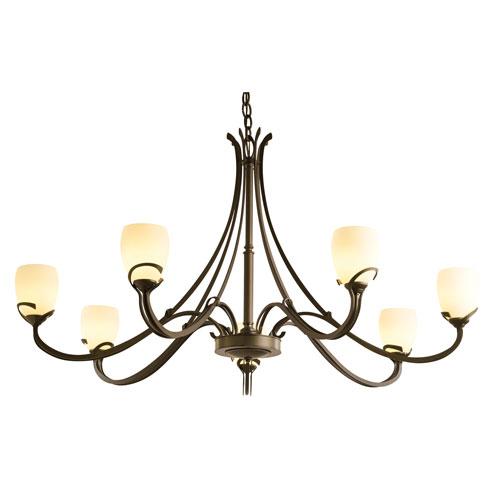Aubrey Bronze Seven-Light 47-Inch Chandelier with Pearl Glass