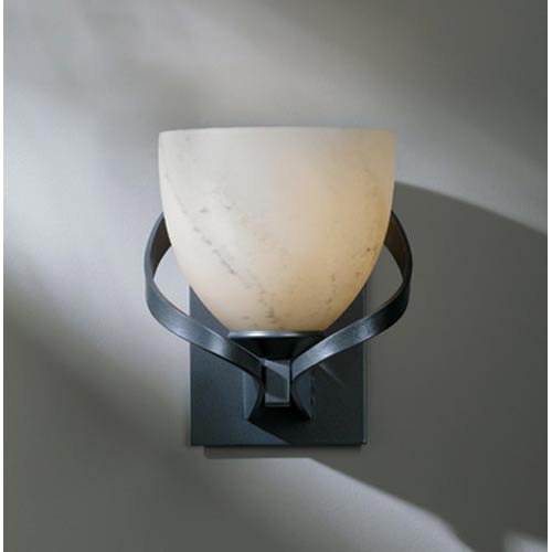Ribbon Burnished Steel One-Light Sconce with Stone Glass