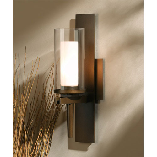Constellation Bronze One Light Wall Sconce with Clear Outer Opal Inner Glass