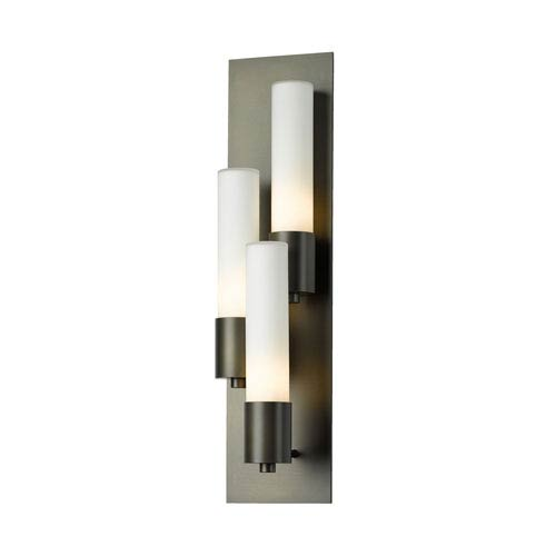 Pillar Dark Smoke Three-Light 5-Inch Left Wall Sconce with Opal Glass