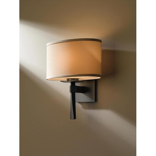 Hubbardton Forge Beacon Hall Burnished Steel One Light Sconce With Doeskin Micro Suede Oval Drum Shade