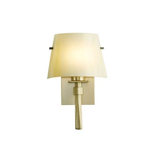Hubbardton Forge Beacon Soft Gold One-Light 9-Inch Wall Sconce with Ivory Art Glass
