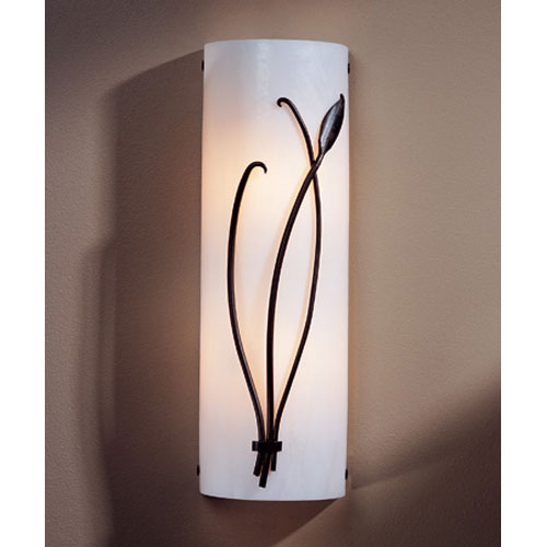 Hubbardton Forge Leaf Dark Smoke Two Light 17-Inch Wall Sconce with White Art Glass Right Facing