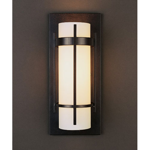 Banded Mahogany One Light Wall Sconce with Opal Glass