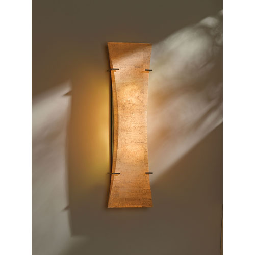 Hubbardton Forge Bento Dark Smoke Three Light Fluorescent Wall Sconce with Natural Cork Shade