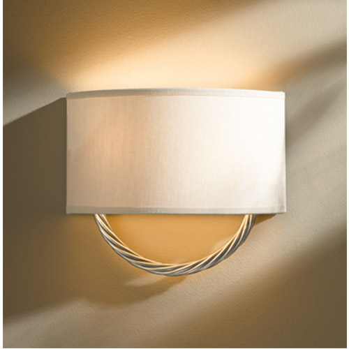 Hubbardton Forge Cavo Vintage Platinum Two-Light Wall Sconce with Flax Shade