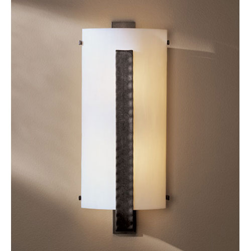 Forged Vertical Bar Dark Smoke Two Light Wall Sconce with White Art Glass