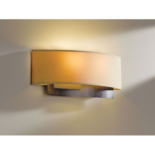 Current Dark Smoke Two Light Wall Sconce with Doeskin Micro-Suede Shade