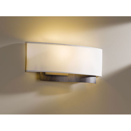 Current Dark Smoke Two Light Wall Sconce with Natural Anna Shade