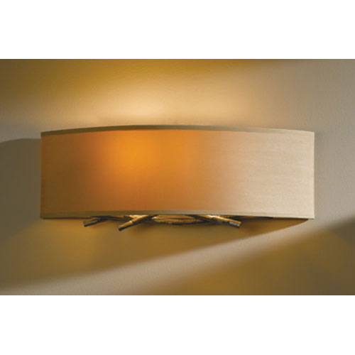 Hubbardton Forge Brindille Burnished Steel Two Light Wall Sconce with Doeskin Micro-Suede Shade