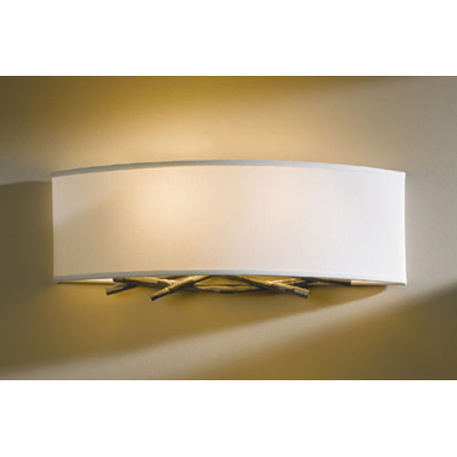 Hubbardton Forge Brindille Burnished Steel Two Light Wall Sconce with Natural Anna Shade