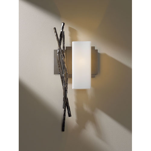 Hubbardton Forge Brindille Bronze One Light Wall Sconce with Opal Glass Right Facing